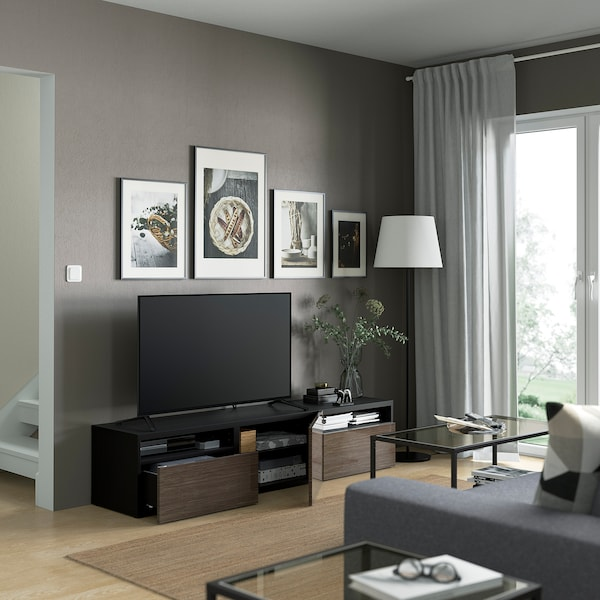 BESTÅ TV bench, black-brown/Selsviken high-gloss/brown, 180x42x39 cm