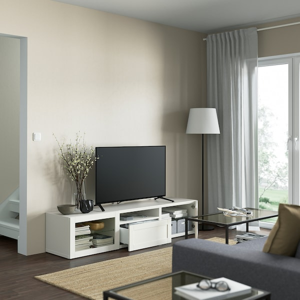 BESTÅ TV bench, white/Hanviken white clear glass, 180x42x39 cm