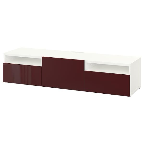 BESTÅ TV bench, white Selsviken/high-gloss dark red-brown, 180x42x39 cm