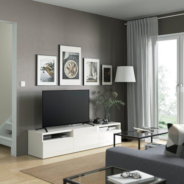 BESTÅ TV bench, white/Selsviken high-gloss/white, 180x42x39 cm