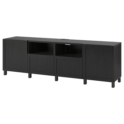 BESTÅ TV bench with doors and drawers, black-brown/Hanviken/Stubbarp black-brown, 240x42x74 cm