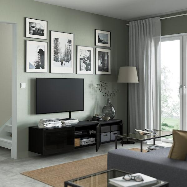 BESTÅ TV bench with doors, black-brown/Glassvik smoked glass, 180x42x38 cm