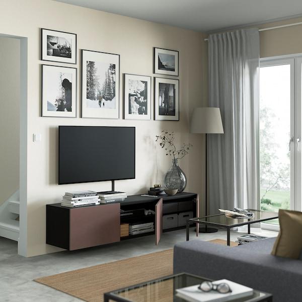 BESTÅ TV bench with doors, black-brown/Hjortviken brown, 180x42x38 cm