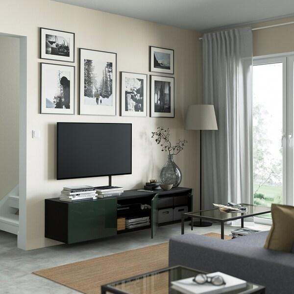BESTÅ TV bench with doors, black-brown/Selsviken dark olive-green, 180x42x38 cm