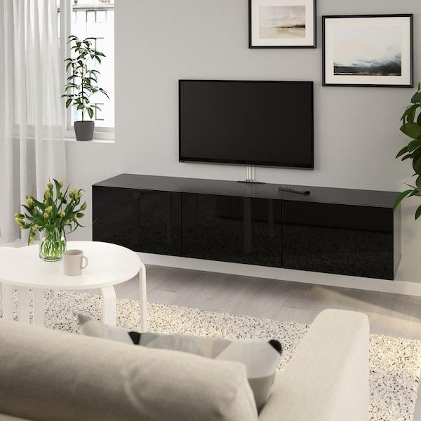 BESTÅ TV bench with doors, black-brown/Selsviken high-gloss/black, 180x42x38 cm
