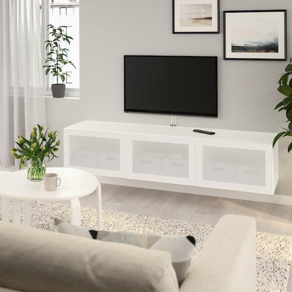 BESTÅ TV bench with doors, white/Glassvik frosted glass, 180x42x38 cm