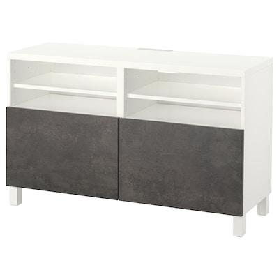 BESTÅ TV bench with doors, white Kallviken/Stubbarp/dark grey concrete effect, 120x42x74 cm