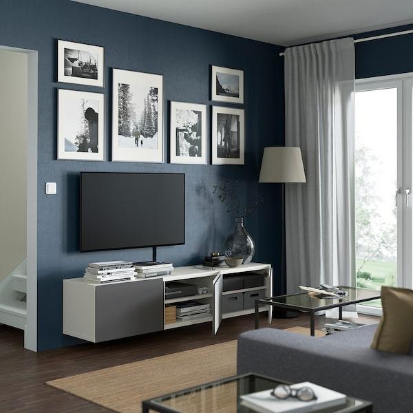 BESTÅ TV bench with doors, white/Västerviken grey, 180x42x38 cm