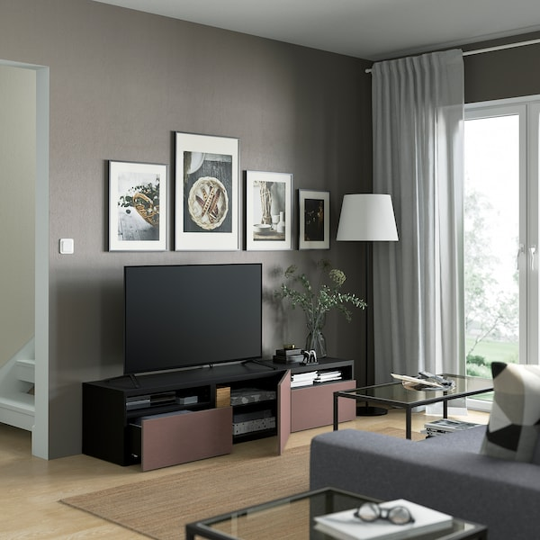BESTÅ TV bench with drawers and door, black-brown/Hjortviken brown, 180x42x39 cm