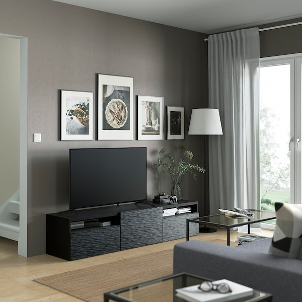 BESTÅ TV bench with drawers and door, black-brown/Laxviken black, 180x42x39 cm