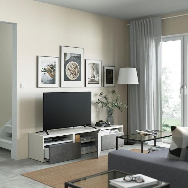 BESTÅ TV bench with drawers and door, white/Kallviken dark grey, 180x42x39 cm