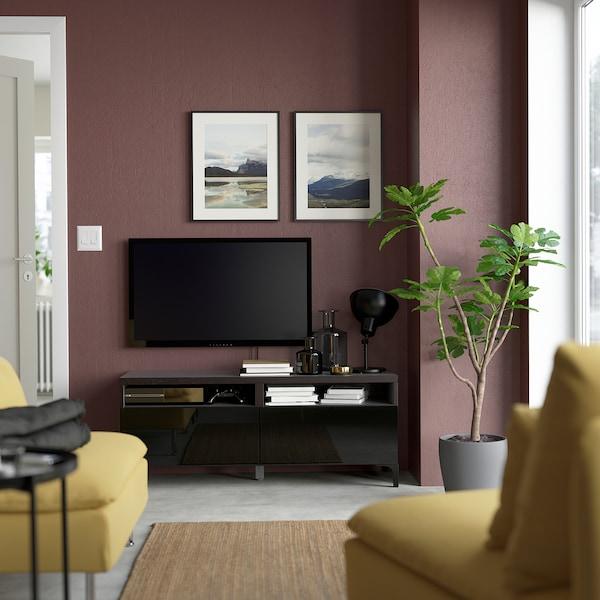BESTÅ TV bench with drawers, black-brown/Selsviken high-gloss/black, 120x42x48 cm
