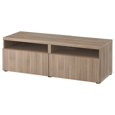 BESTÅ TV bench with drawers, grey stained walnut effect/Lappviken grey stained walnut effect, 120x42x39 cm