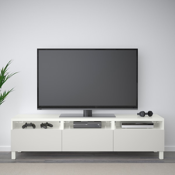 BESTÅ TV bench with drawers white/Lappviken light grey 180 cm 40 cm 48 cm