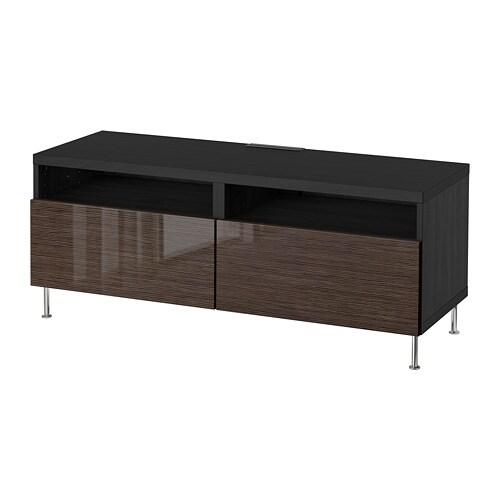 Besta Tv Bench With Drawers Black Brown Selsviken Stallarp High
