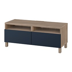 BESTÅ TV bench with drawers, grey stained walnut effect, Notviken/Stubbarp blue