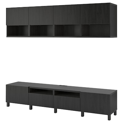 BESTÅ TV storage combination, black-brown/Lappviken/Stubbarp black-brown, 240x42x230 cm