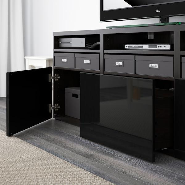 BESTÅ TV storage combination/glass doors, black-brown/Selsviken high-gloss/black smoked glass, 180x42x192 cm