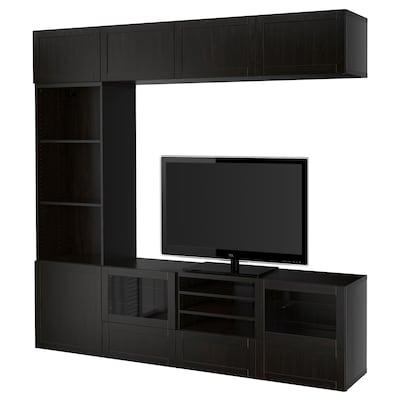 BESTÅ تشكيلة تخزين تلفزيون/أبواب زجاجية, Hanviken/Sindvik أسود-بني زجاج شفاف, 240x40x230 سم