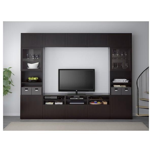 BESTÅ تشكيلة تخزين تلفزيون/أبواب زجاجية, Hanviken/Sindvik أسود-بني زجاج شفاف, 300x40x230 سم