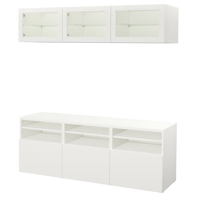 BESTÅ TV storage combination/glass doors, Lappviken/Sindvik white clear glass, 180x40x192 cm