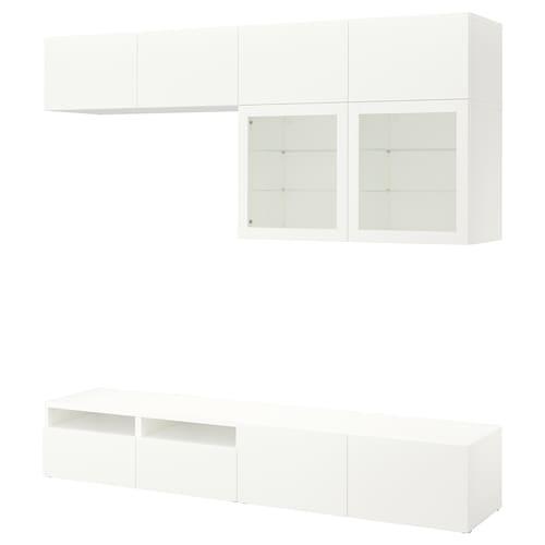 BESTÅ TV storage combination/glass doors Lappviken/Sindvik white clear glass 240 cm 40 cm 230 cm