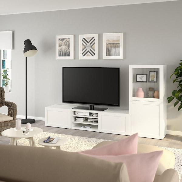 BESTÅ TV storage combination/glass doors, white/Hanviken white clear glass, 240x42x129 cm