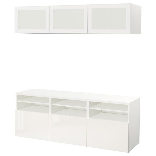 BESTÅ TV storage combination/glass doors, white/Selsviken high-gloss/white frosted glass, 180x42x192 cm