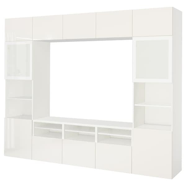 BESTÅ تشكيلة تخزين تلفزيون/أبواب زجاجية, أبيض/Selsviken لامع/زجاج ضبابي أبيض, 300x40x230 سم