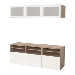 BESTÅ TV storage combination/glass doors, grey stained walnut effect, Selsviken high-gloss/white frosted glass