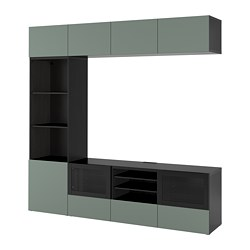 BESTÅ TV storage combination/glass doors, black-brown, Notviken grey-green clear glass