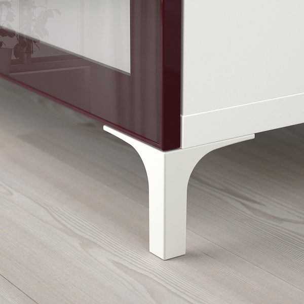 BESTÅ TV bench white Selsviken/Nannarp/high-gloss dark red-brown 180 cm 42 cm 48 cm 50 kg
