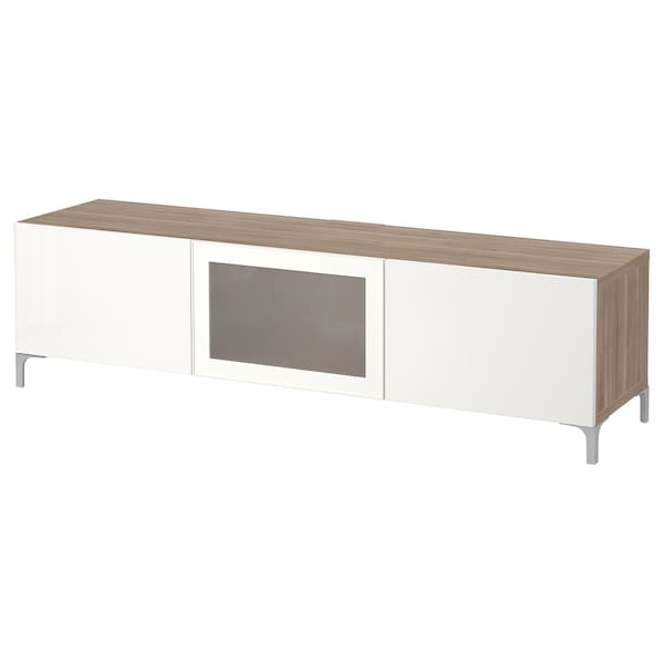 BESTÅ TV bench with drawers and door grey stained walnut effect/Selsviken high-gloss/white frosted glass 180 cm 40 cm 48 cm 50 kg