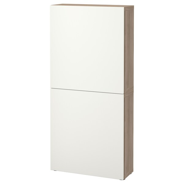 BESTÅ Wall cabinet with 2 doors, grey stained walnut effect/Lappviken white, 60x22x128 cm