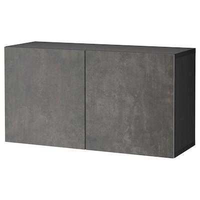 BESTÅ تشكيلة خزانة حائطية, أسود-بني Kallviken/رمادي غامق تأثيرات ماديّة., 120x42x64 سم