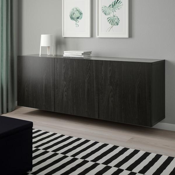 BESTÅ Wall-mounted cabinet combination, black-brown/Lappviken black-brown, 180x42x64 cm