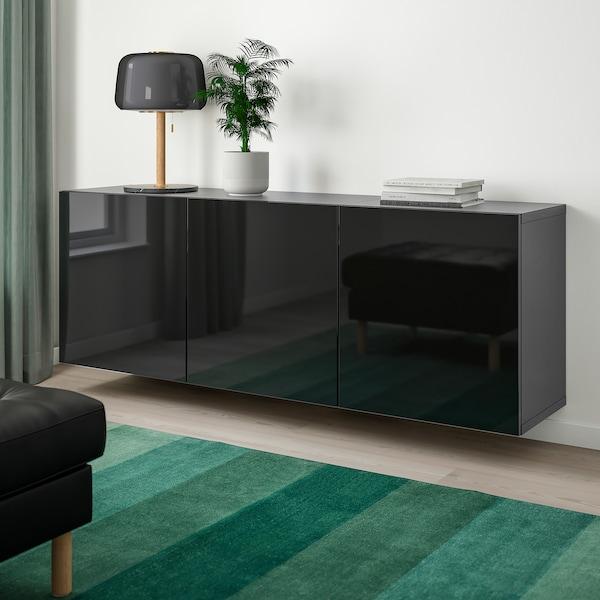 BESTÅ Wall-mounted cabinet combination, black-brown/Selsviken high-gloss/black, 180x42x64 cm