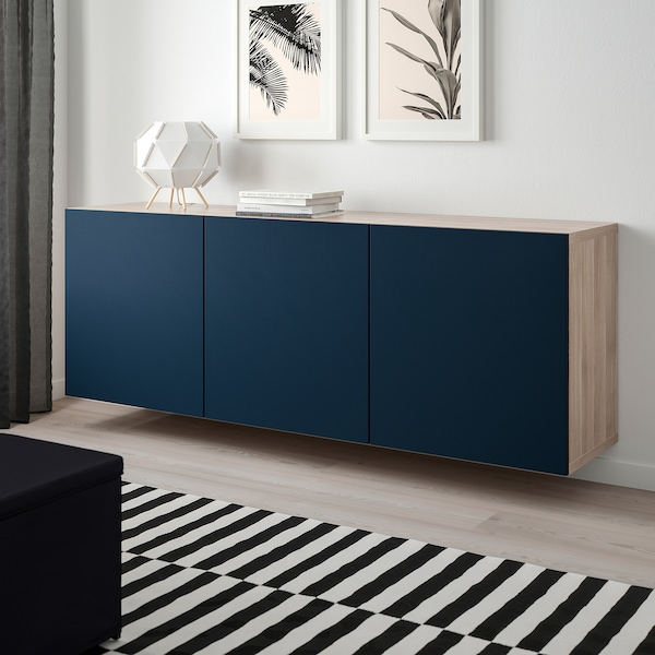 BESTÅ Wall-mounted cabinet combination - grey stained ...