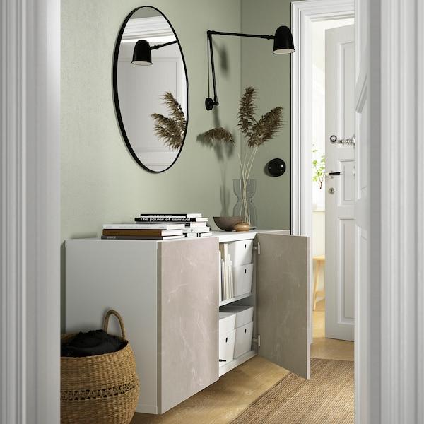 BESTÅ Wall-mounted cabinet combination, white Bergsviken/beige marble effect, 180x42x64 cm