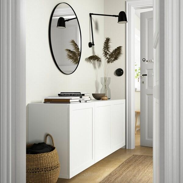 BESTÅ Wall-mounted cabinet combination, white/Hanviken white, 180x42x64 cm