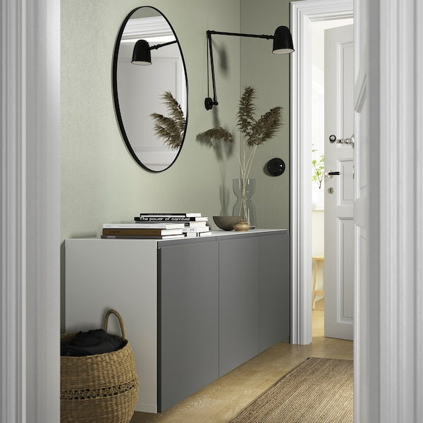 BESTÅ Wall-mounted cabinet combination, white/Västerviken dark grey, 180x42x64 cm