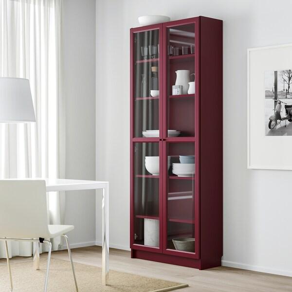 BILLY bookcase with glass-doors dark red 80 cm 30 cm 202 cm 30 kg