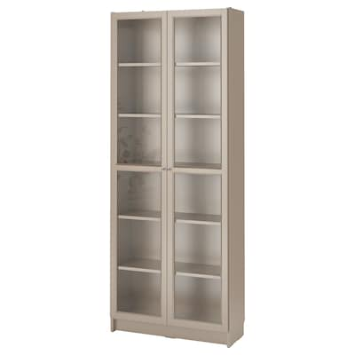 BILLY Bookcase with glass-doors, grey/metallic effect, 80x30x202 cm