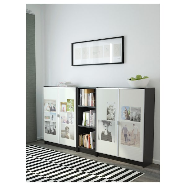 BILLY / MORLIDEN مكتبة, أسود-بني, 200x30x106 سم