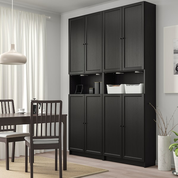 BILLY / OXBERG Bookcase w height extension ut/drs, black-brown, 160x30x237 cm