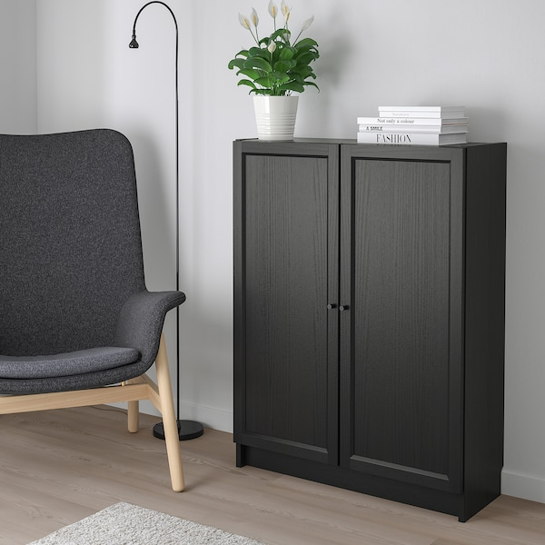 BILLY / OXBERG Bookcase with doors, black-brown, 80x30x106 cm