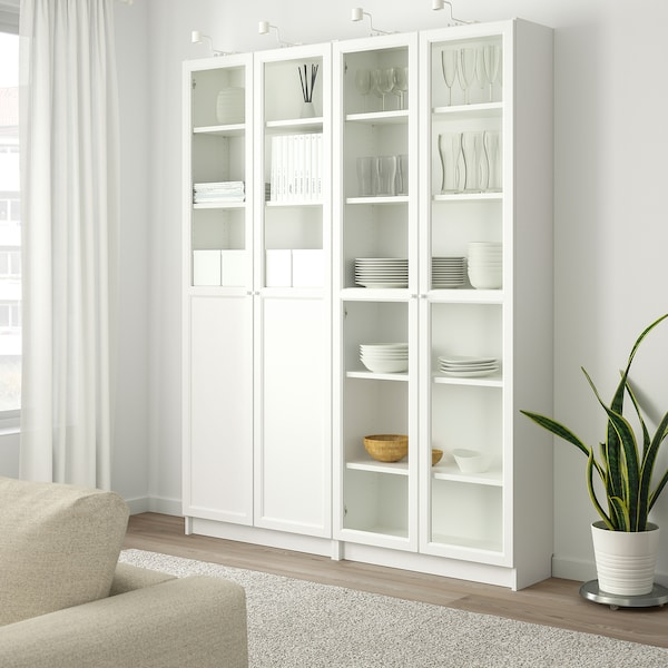 BILLY / OXBERG Bookcase with panel/glass doors, white/glass, 160x30x202 cm