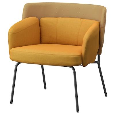 BINGSTA Armchair, Vissle dark yellow/Kabusa dark yellow