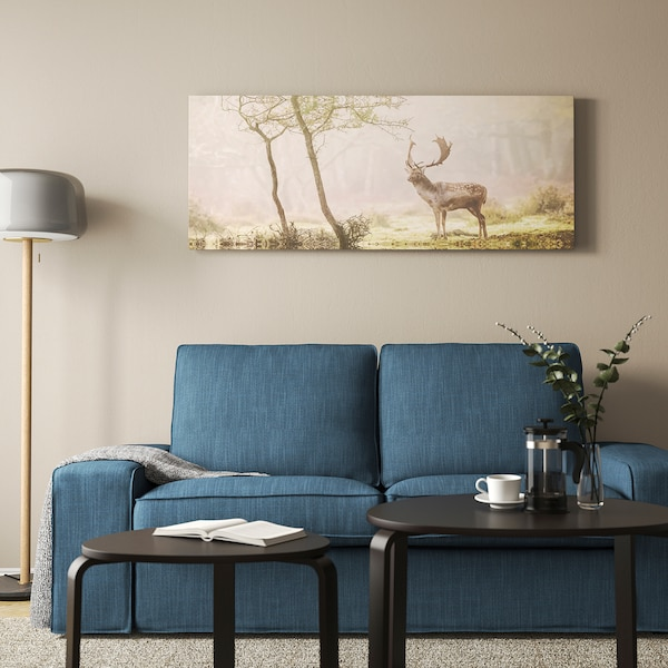 BJÖRKSTA Picture with frame, Deer in glade/aluminium-colour, 140x56 cm