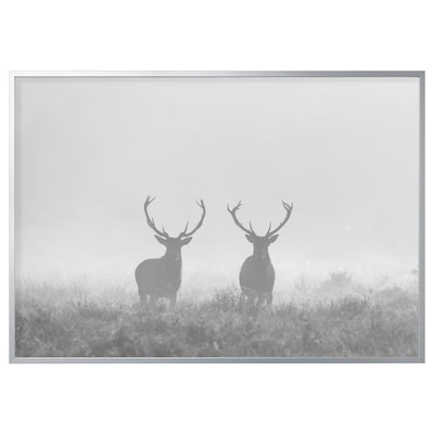 BJÖRKSTA Picture with frame, Deers in fog/aluminium-colour, 200x140 cm